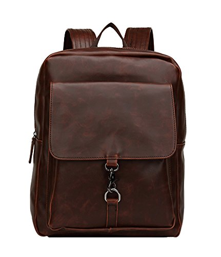 Chickle Men's Coffee Vintage PU Leather Backpack