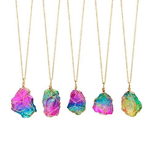 Quaant Necklace Rainbow Stone Natural Crystal Rock Necklace Gold Quartz Pendant Jewelry necklace Colar (Blue)