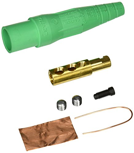 Leviton 16D22-UG 16-Series Taper Nose, Male, Plug Contact and Insulator, Detachable, Cam-Type connector, Green