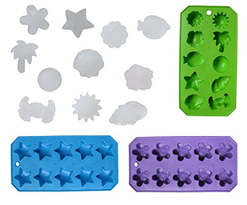 Set of 3 Flexible Shaped Ice Cube Trays. Sun, Star, Flower, Tree and Sealife. Fun Party Combo (Flowers Tray Of)