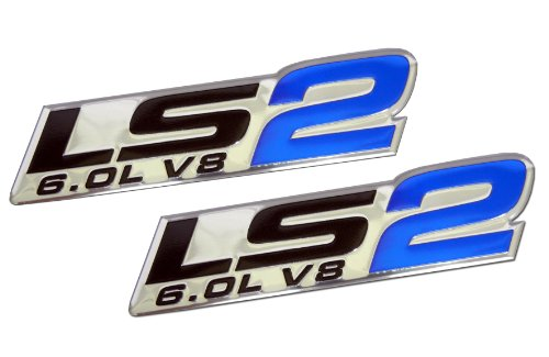 ERPART LS2 6.0L V8 Blue Engine Emblems Badges Highly Polished Aluminum Chrome Silver Compatible with Chevy Corvette Holden HSV Pontiac Saab Cadillac (Pack of 2)