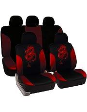 eSituro Autostoelhoezen Van Seat Protector Cover Universeel type volledige set van 5 Zwart-roos