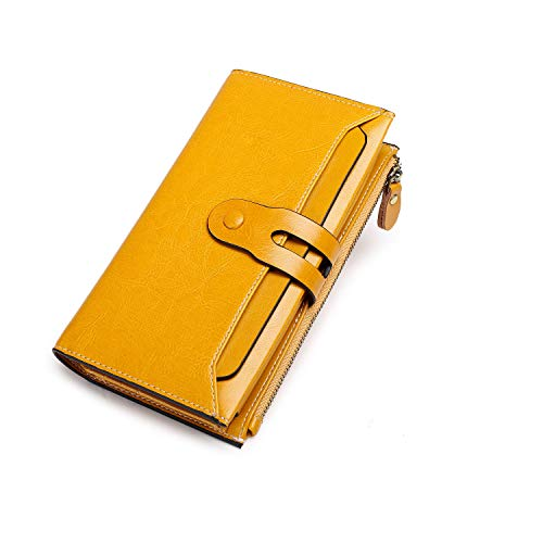 Womens Wallet Leather RFID Blocking Purse Large Capacity Card Organizer Vintage Lady Long Trifold Clutch By BAIGIO (Yellow-1)