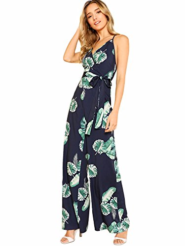 Romwe Women's Casual High Waist Belted Leaf Print Wide Leg Criss Cross Backless Cami Jumpsuit Navy - Leaf Print Navy