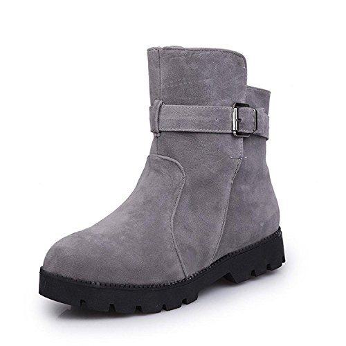 Kingko Women Winter Warm Snow Ankle Boots Buckle Match Solid Martin Boots Shoes Gray TlhVHllpjL