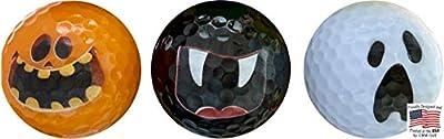 Halloween Golf Balls - 3 Ball Pack #2 - Novelty Print Golf Balls 3 Frightening Designs