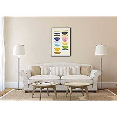 Canvas Wall Art - Colorful Abstract Dishes - Gallery Wrap Modern Home Art | Ready to Hang - 12x18 inches