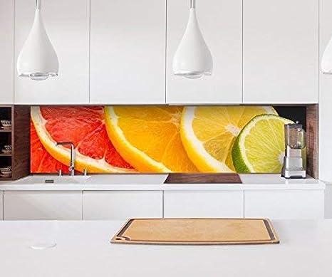 22a836 Kitchen Back Wall Sticker Orange Fruit Slices Fruit Kitchen Lemon Film Self Adhesive Decorative Film Tiles Furniture Film Splash Guard 60cm X 300cm Amazon De Kuche Haushalt