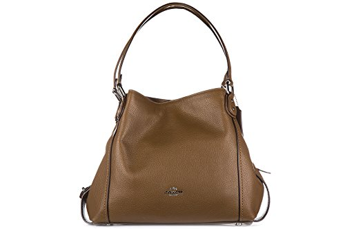 COACH Womens Pebbled Leather Shoulder