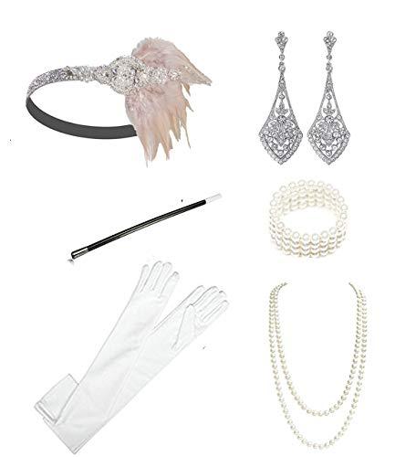 1920s Accessories Headband Necklace Gloves Cigarette Holder Flapper Costume Accessories Set for Women(c) -