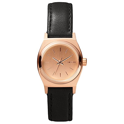 Nixon Women's A5092001 Small Time Teller Gold-Tone Watch with Brown Leather Band