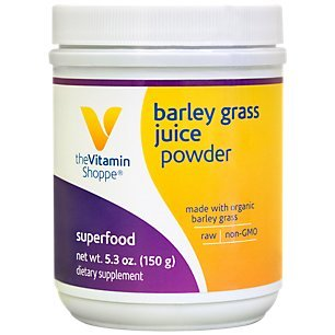 The Vitamin Shoppe Organic Barley Grass Juice Powder, NonGMO, Raw Superfood Powder with Antioxidants Such as BetaCarotene, Vitamin C and More, Minerals Chlorophyll (5.3 Ounce Powder)
