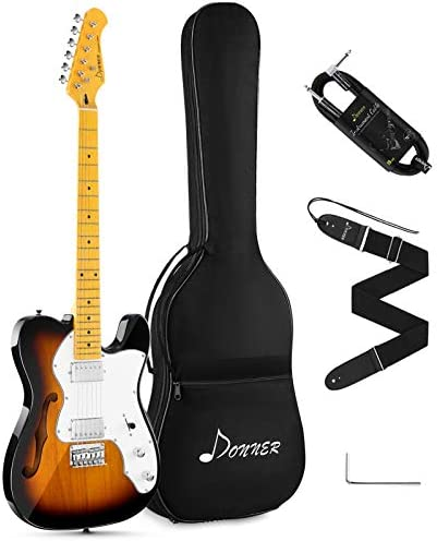 Donner 39 Inch Jazz Thinline Electric Guitar Tele Style Electric Guitar Beginner Solid Body Sunburst Full-Size H-H pickups with Bag, Strap, Cable,DJC-1000S