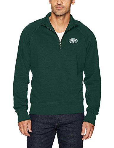 NFL New York Jets Men's OTS Fleece 1/4-Zip Pullover, Logo, Large