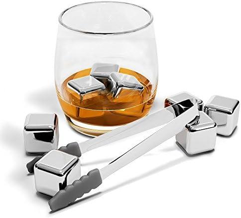 Whisky Steine, Wiederverwendbare Edelstahl Eiswürfel Set + Zange + Stoffbeutel | 8 Metall Kühlsteine, Premium Bar Zubehör für alle Getränke, Cocktail Gin Whiskey | Geburtstag Geschenk Mann & Frau