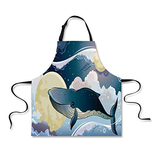 iPrint Cooking Apron,Whale Decor,Cartoon Style Huge Whale Flies Over Night Clouds with Other Planets,Night Blue and White,3D Print Apron.29.5