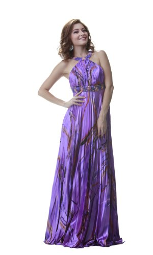 PolyUSA Women's Halter Pleated Printed Charmeuse Evening & Prom Gown XL Lilac Print