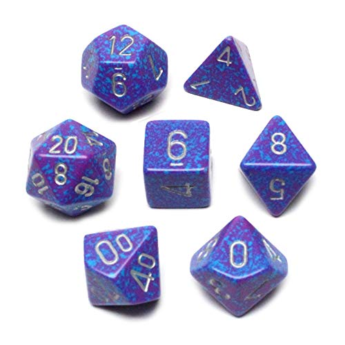 Chessex CHX25347 Dice-Speckled Silver Tetra Set