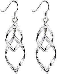 Womens Classic Double Linear Loops Design Twist Wave Earrings for Women Girls