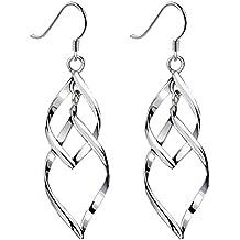 Bassion Womens Classic Double Linear Loops Design Twist Wave Earrings for Women Girls