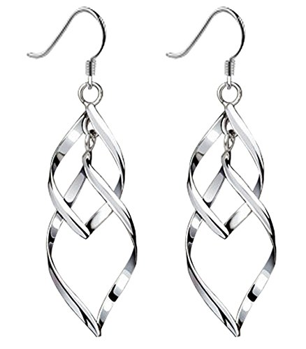 Bassion Womens Classic Double Linear Loops Design Twist Wave Earrings for Women Girls (Long Earring Loop)