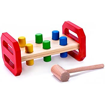 Child's Classic Wooden Pounding Bench Toy for Toddlers, Pound & Tap w/ Wood Hammer & Colored Pegs | Developmental & Sensory Toy for Boys & Girls