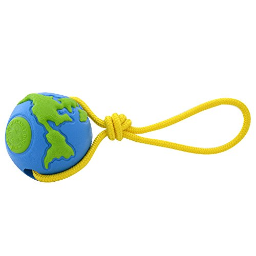 (Planet Dog Orbee Ball, Planet Ball Rope Interactive Durable Chew-Fetch-Tug Dog Toy, Floats, Made in The USA, Blue Green (4