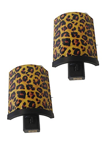 Set of Two Spoontiques Leopard Glass Shielded Night Light with Swivel Feature and Light Bulb Included