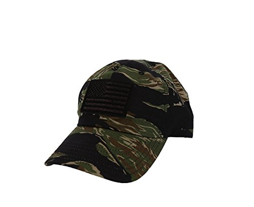 Rogue American Flag Solid Back Hat (One Size, Jungle Tiger Stripe) (Jungle Tiger Stripe)