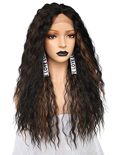 ra Fiber Wigs Black Ombre with Brown Highlights Long Curly Lace Front Synthetic Wig 4 inches L Shape Deep Parting Space Heat Resistant ()