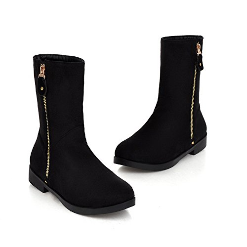 AllhqFashion Womens Imitated Suede Low-Top Solid Zipper Low-Heels Boots Black v3HnF
