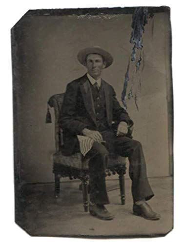 Antique 1/6th Plate Tintype Photograph of Seated Man with Flag & Striped Socks
