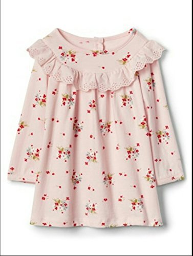 GAP Baby Girl Floral Eyelet Ruffle Dress, A-Line Silhouette. Size (Gap Button)