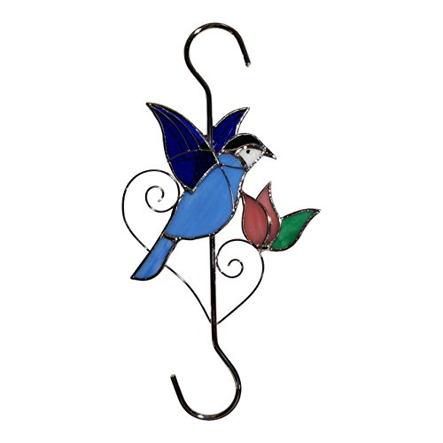 Sunlit Gifts Plant Hanger (10-inch Bluebird) / Bird Feeders Hook: Beautiful Hand Made Stained Glass (with Metal S Hooks) - Ornament Hangers for Hanging Planters, Flower Baskets, Pots, Bird Houses
