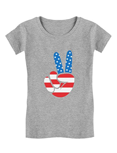 Tstars - American Flag Peace Sign 4th of July Toddler/Kids Girls' Fitted T-Shirt 3T Gray American Peace Toddler Shirt