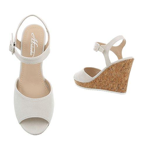Ital-Design Women's Sandals Wedge Heel Wegde Sandals at Light Grey 3811-15 an4YmRom7
