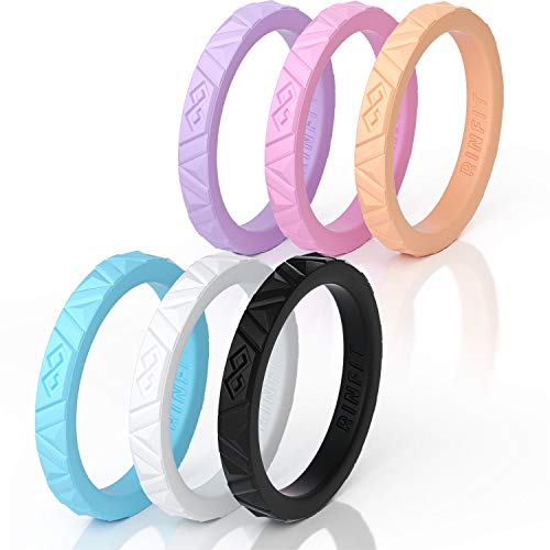 (Rinfit Silicone Wedding Rings for Women 6 Ring Pack - Unique Set of Thin and Stackable Wedding Bands for Women. Designed, Soft Silicone Rubber. (Size 7, Stackable Collection))