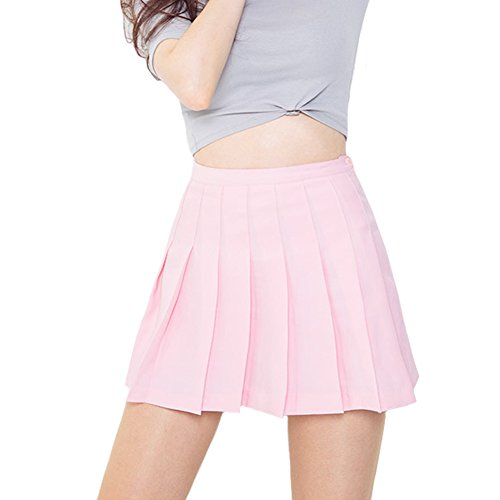 (Minuoyi Women Sports High Waist with Underpants Tennis Badminton Cheerleader Pleated Skirt (Tag Size L, Pink))
