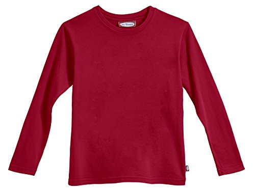 City Threads Big Boys' Cotton Long Sleeve Tee Base Layer For Fall Winter School or Play - Sensitive Skins or SPD Sensory Friendly Kids Clothing , Red, 10
