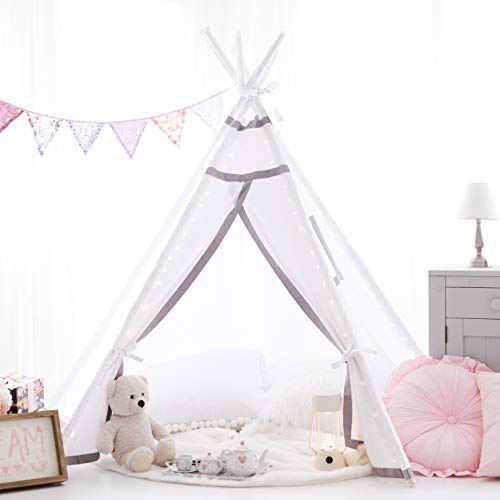 Teepee Tent for Girls, Boys - Twinkle Lit Teepee | Fairy Lights Included | Tipi Tent Kids Will Love for Indoor Reading and Imaginative Play | For Children and Toddlers Ages 3 and up | White, Grey Trim]()