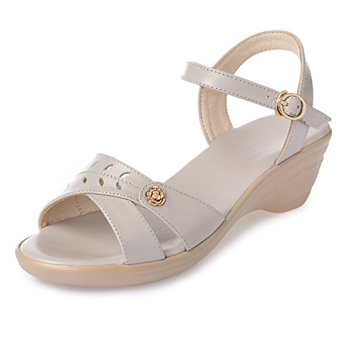 Bottom Black Size 250 Beach Summer Gray Sandals Colors 3 UK6 5 Soft Height Strap Mom Heel EU40 Color PENGFEI Women's 5CM Ankle US8 Wedge qF0ga