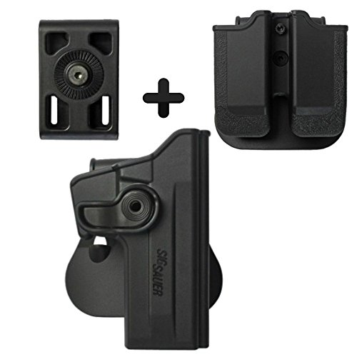 IMI Defense Z1070 Tactical Combo Kit Roto Retention Paddle Holster + Double Magazine Pouch + Belt Holster Attachment For Sig Sauer 226 (9mm/.40/357), P226 Tactical Operations (Tacops) Pistol - 357 Pistols Sig