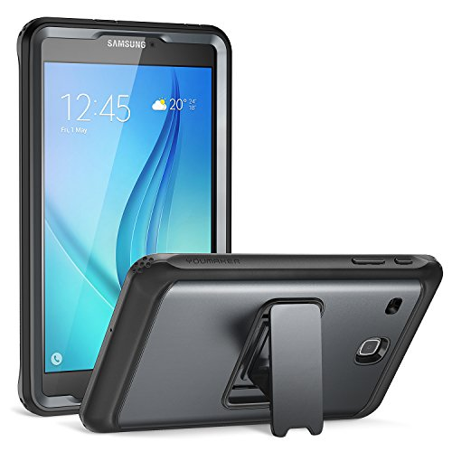 Galaxy Tab E 8.0 Case, YOUMAKER Full-Body Heavy Duty Protective Case with Kickstand and Built-in Screen Protector for Samsung Galaxy Tab E 8.0 inch - Black/Black