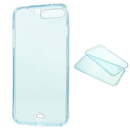 König-Shop Full TPU Case für Apple iPhone 7 Plus Schutz Hülle Handy Blau Rahmen Cover 360