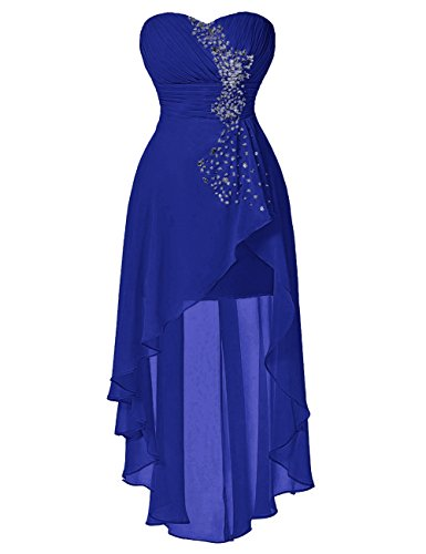 Vinvv Strapless Beaded Hi Low Pleats Wait Short Prom Homecoming Dress Royal Blue 18W