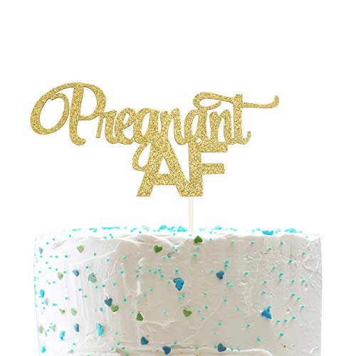 Pregnant AF Cake Topper for Baby Shower Gender Reveal Pregnancy Announcement Party Decorations (Double Sided Gold Glitter)]()
