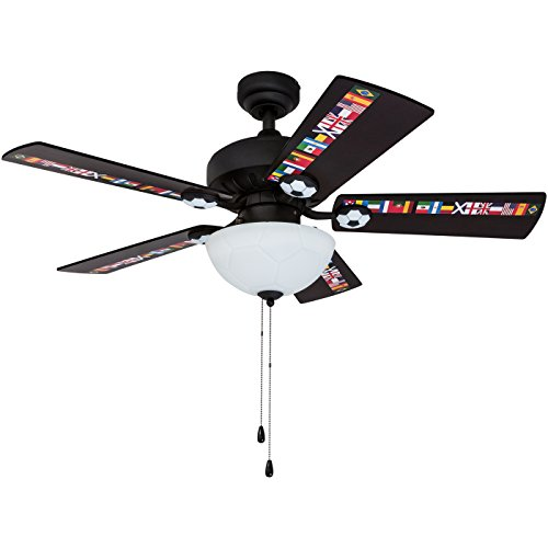 "Prominence Home 40274-01 Soccer Ceiling Fan International Sports, 42"", Black"