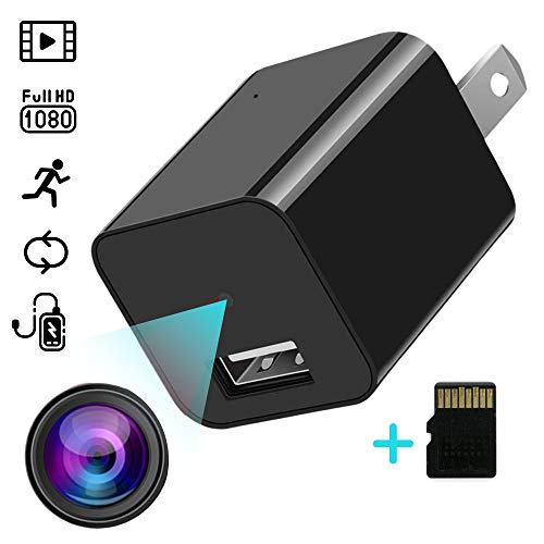 Spy Camera Charger, Hidden Camera, Wireless Nanny Cam, Full HD Video Surveillance, Mini Cameras for Home Security, USB Charger, 32GB Card, Motion Detection, Easy to Use, No Sound,Oculta