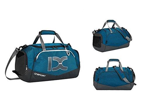 HNBGY Práctico Bolsa de Deporte Deporte Deporte de Gran Capacidad al Aire Libre Sports Holdall Travel Weekender Bolsa de Deporte para Hombres (Azul + Blanco) 9cecb9