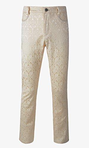 DarcChic Mens Trousers Pants Brocade VTG Gothic Aristocrat Steampunk (XXL, Cream) -  501100214